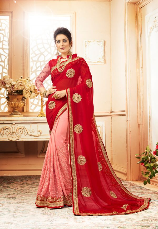 red & pink color saree
