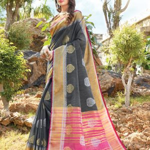 dark grey color saree