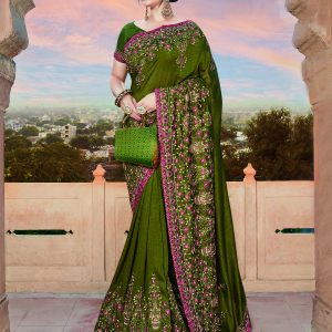 olive green color saree
