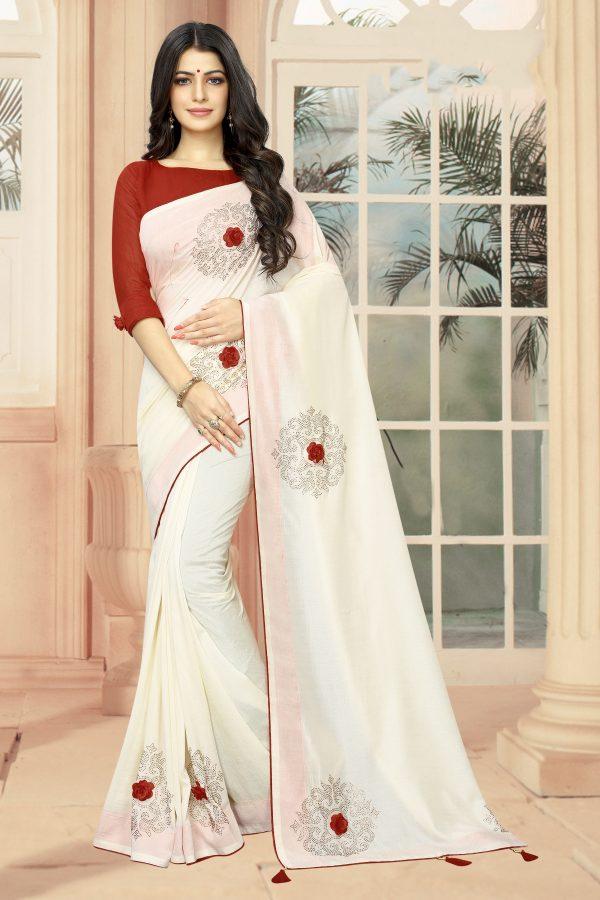 white color saree