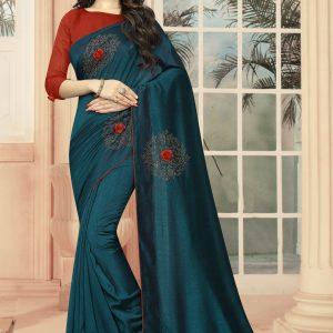 teal blue color saree