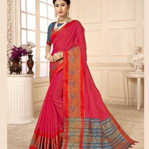 dark pink color saree