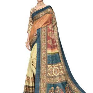 cream & brown color saree