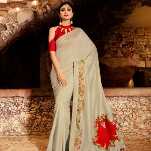 pale grey color saree