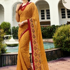 mustard yellow saree