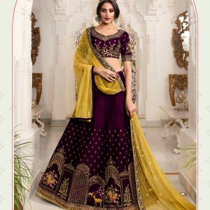 wine color lehenga