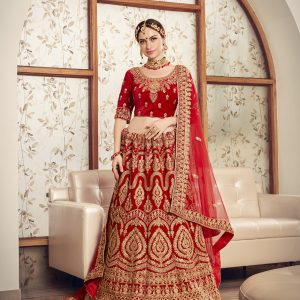 red color lehenga