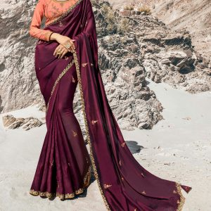 wine color saree
